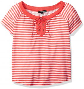 735587f2929e My Michelle Big Girls  Striped Tee Shirt with Solid Neckline and Tie Front