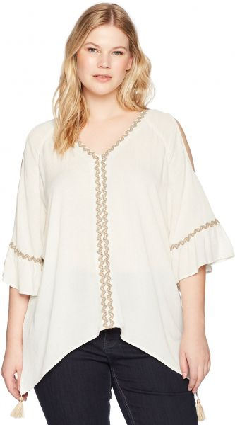 51cc87fdf4ad29 Democracy Women s Plus Size Cold Shoulder Hanky Hem Top