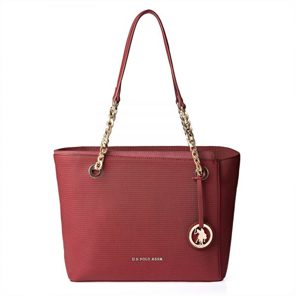 69d6d43736df U.S. Polo Assn. Leather Tote Bag for Women - Burgundy