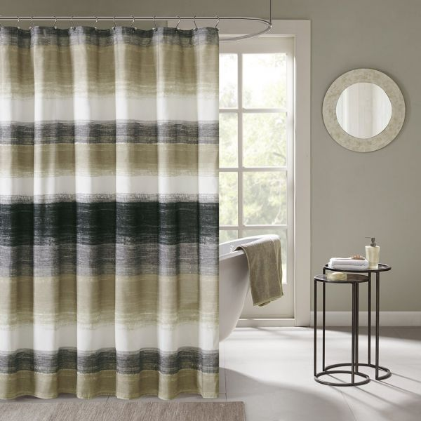 Madison Park Saben Stripes Modern Shower Curtain Abstract Casual Curtains For Bathroom 72 X Taupe