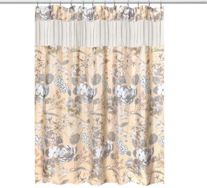 Popular Home The Ashley Collection Fabric Shower Curtain Beige