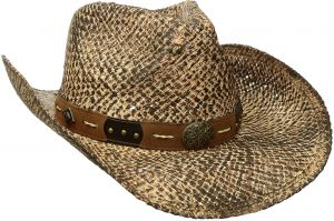 Henschel Men s Hand Stained Raffia Straw Hat with Leather Band Conchos    Studs 5cfd7c467861