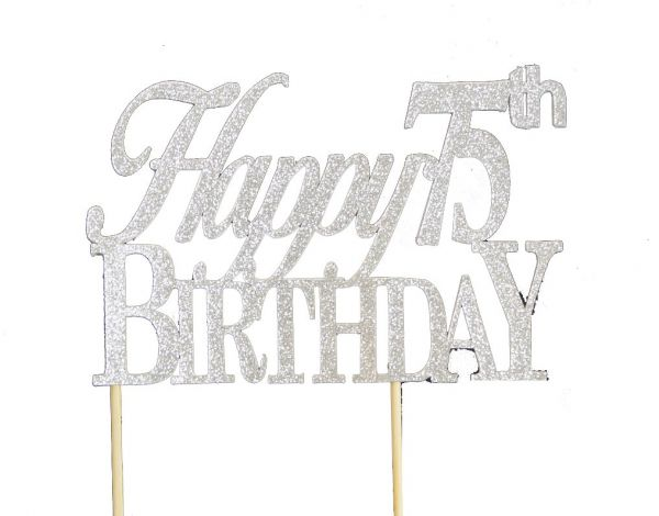 All About Details Silver Happy 75th Birthday Cake Topper