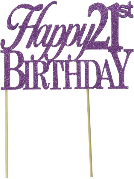 All About Details Purple Happy 21st Birthday Cake Topper