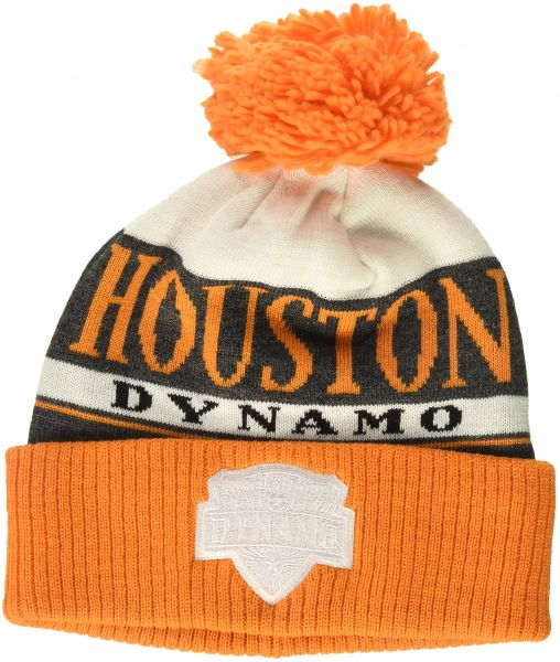 0209c351c44bf adidas MLS Houston Dynamo Men s Heathered Gray Cuffed Knit Beanie with Pom