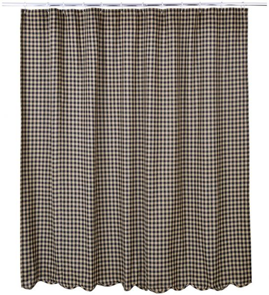 VHC Brands Black Check Scalloped Shower Curtain 72x72