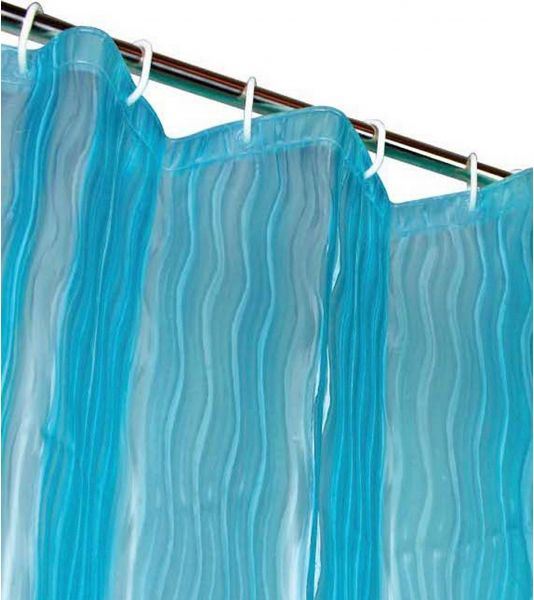 Dainty Home Milan 3D Eva Shower Curtain Liner Blue
