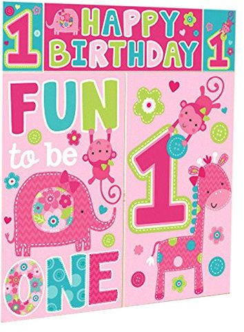 Amscan One Wild Girl 1st Birthday Party Scene Setter Vinyl Wall Decorating Kit Supplies 60 Piece Pink