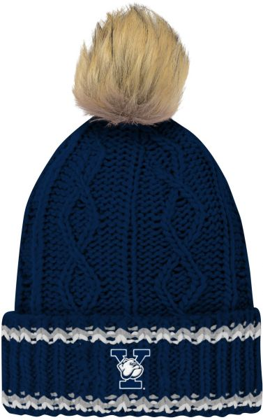 43fdde9e489 NCAA Yale Bulldogs Youth Girls Core Furry Pom Cable Knit Hat