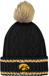 NCAA Iowa Hawkeyes Youth Girls Core Furry Pom Cable Knit Hat 909872743730