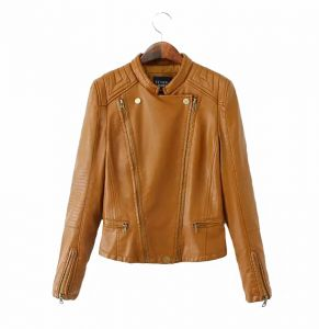 e3f42a1bf52 Autumn and winter clothing Personality Fashion Biker Jacket Women s PU  Simple Casual Long Sleeve Double Row Zipper Slim Coat