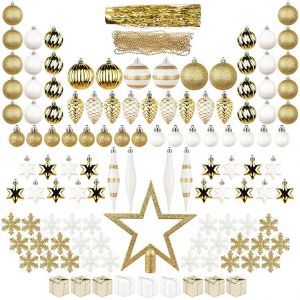 44adb15f239 122ct Christmas tree Ornaments Decorations Assortment Including tree Topper  Balls Snowflakes Stars Pine Cones Miniature Gift Boxes Tinsel and Beads  Garlands ...