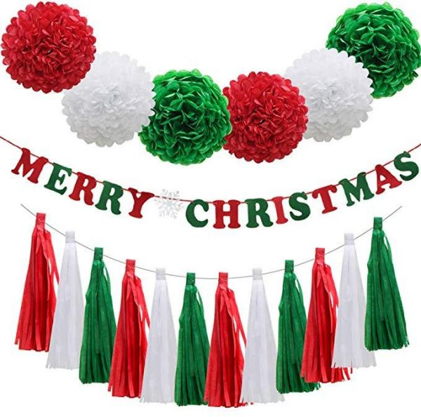 Christmas Red Green White Party Decorationsmerry Christmas Banner