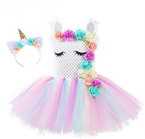 c90f058e9a Flower Girls Unicorn Tutu Dress Pastel Rainbow Princess Girls Birthday  Party Dress Children Kids Halloween Unicorn Costume | Souq - UAE