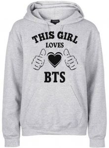 FMstyles This Girl Loves BTS Grey Unisex hoodies FMS362 - Large beb9057bef41a