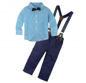 bd1f1ecc BIG ELEPHANT 2 Pieces Baby Boy's Long Sleeve Shirt Pants Clothing Set with  Suspenders E8 Large