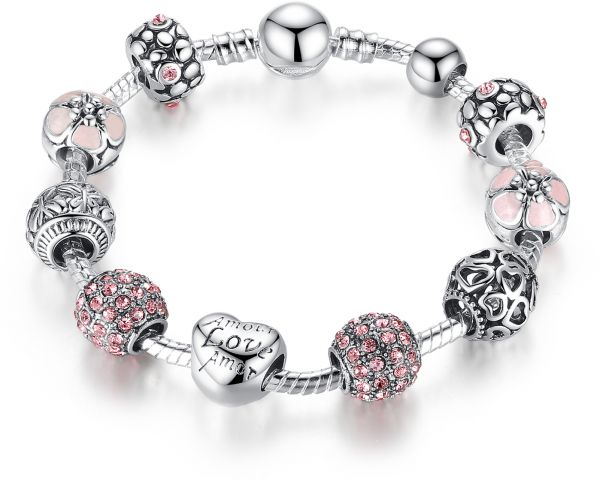 278b8cd6c008 Pandora Element Pink Crystal Beads and Carved Bead Bracelet Sliver ...
