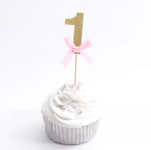 First Birthday Cupcake Toppers 1st Party Decorations Girl 10 Pcs