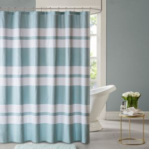 Ceil Printed Seersucker Shower Curtain Seafoam 72x72