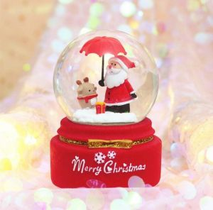 Christmas decoration crystal ball Santa Claus music box rotating floating snow light water ball placing a gift for students and children