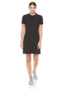 d40dac59d1e Fred Perry Taped Ringer T-Shirt Dress for Women - Black