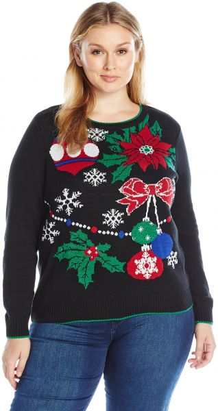 Plus Size Ugly Christmas Sweater.Ugly Christmas Sweater Women S Plus Size Xmas Decor Black 1x