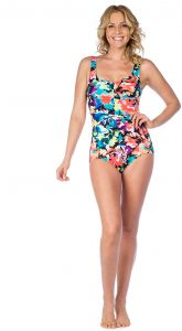 c7879773c9cf93 Maxine Of Hollywood Women's Shirred Front Girl Leg One Piece Swimsuit,  Pink/Blossom, 18