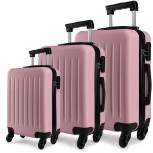 45bdcac27454 Kono Luggage Set of 3 PCS Lightweight ABS Hard Shell Trolley Travel Case  with 4 Spinner Wheels