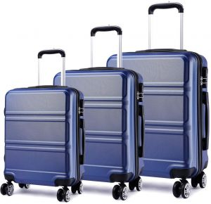 ce717337ec1d Kono Lightweight ABS Suitcase 4 Spinner Wheels Trolley Case 3pcs Luggage  Set 20 inch 24 inch 28 inch (V Navy Set)