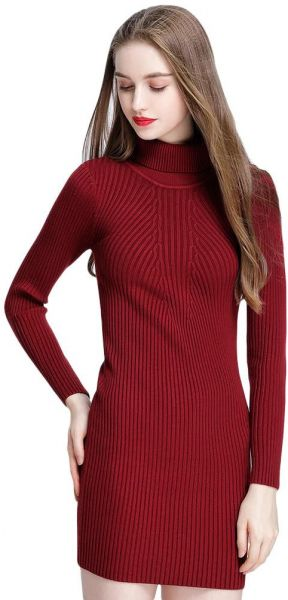 22335547ab8aa Women Autumn Winter Sweater Dress Slim Turtleneck Bodycon Solid Color  Casual Knitted Dress. by Other, Dresses - Be the first to rate this product