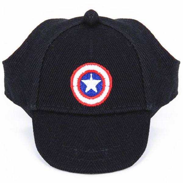 Captain America Summer Canvas Pet Dog Hats for Small Size Dogs Visor Design  Fashion Dogs Sun Hats Sport Cap with Ear Holes and Chin Strap  8964a893e49