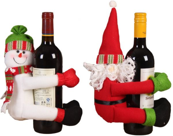 Christmas items set of two Christmas wine bottles set Santa snowman doll wine bottle caps decoration | Souq - UAE