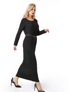 70bc418744e Women Clothing Spring Autumn Floor Length Dress O Neck Long Sleeve Pocket Pleated  Waist Maxi Long Dress with Belt