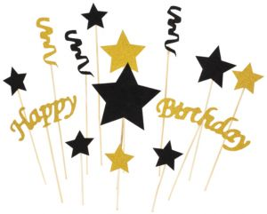 Gold Glitter Happy Birthday Cake Toppers And Five Pointed Star Smash Party Decorations Set Of 14