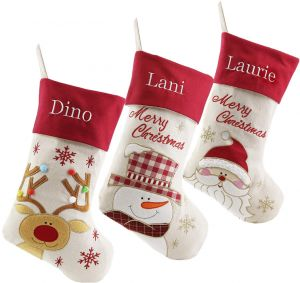 8c61876f4 Burlap Embroidery Christmas Stocking Personalized Linen Christmas Stockings  Custom Name Embroidered Set of 3