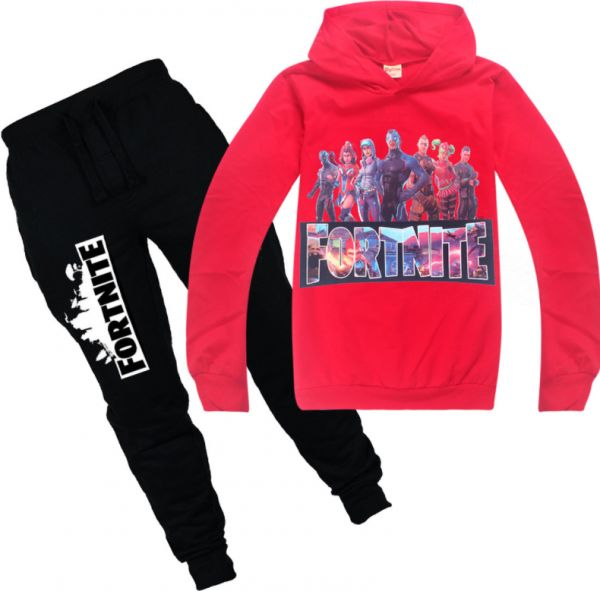 009d9fed7d8 Fortnite Children s Long Sleeve Pullovers 2-Piece Sweatsuit Pants Set Kids  Boys Girls Hooded Sweatshirt-red