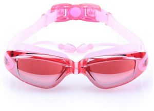 47e5655f1 Adult Swimming Goggles with Earplugs Shield Anti-Fog UV Protection  High-definition Pink