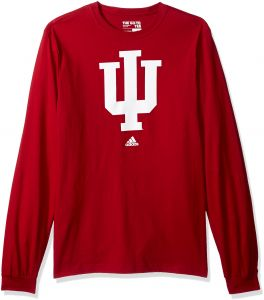 c8991fc451f5 adidas NCAA Indiana Hoosiers Adult men School Logo L S Tee,Large,Red