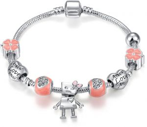be8d31172 Qings Snake Chain Charm Bracelet Silver Plated Personalised Love Bracelet  for Girls Women with Pink Flower bead 18cm