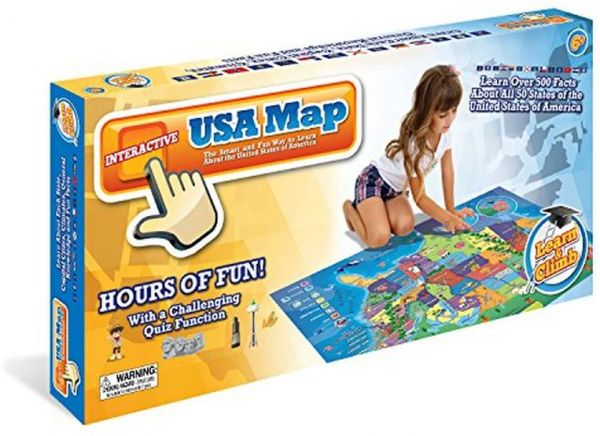 Learn & Climb Electronic Kids Map of the United States- 500 Facts ...