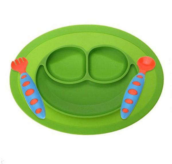 Silicone Baby Feeding Placemat Set Non-Slip Tray Suction Placemat for Children Kids Toddlers Kitchen Dining Bowl, Spoon and fork
