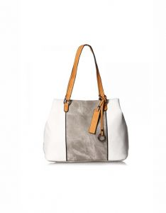 7958a4920d BZ leather Shoulder Bag For Women White And grey HandBag European Style Ladies  Tote Bag