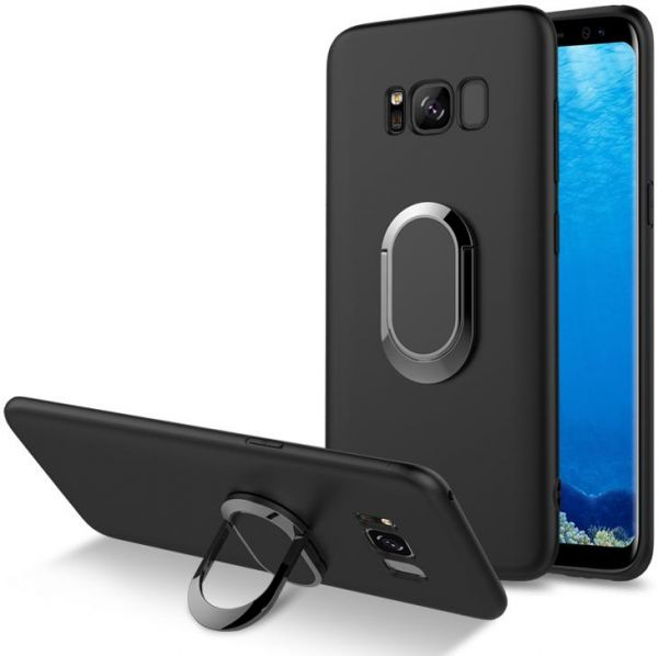 Case for Samsung Galaxy S8, Protective Cover with 360 Degree Adjustable Metal Kickstand, Soft Silicone Shockproof Grip Ring with Protective Cover for Samsung Galaxy S8, Black