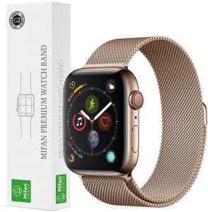 4a9d81873 Mifan Official Milanese Loop Band for Apple Watch 44mm/42mm Series 1/2/3/4 Replacement  Strap Light Gold Mesh Stainless Steel Anti Sweat Cooling Wristband ...