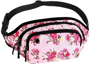 Mosiso Waist Pack, Polyester Water Repellent Unisex Sports Running Belt Bum Bag Fanny Purse Pouch with Adjustable Band , Rose on Pink Base