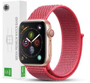 da6f832cbbb56 Mifan Official Nylon Loop Band for Apple Watch 44mm 42mm Series 1 2 3 4  Replacement Strap Mesh Soft Breathable Woven Sports Wristband Bracelet  Hibiscus Pink
