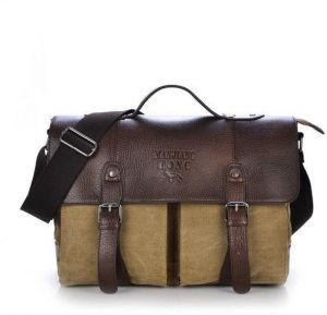 d436ef9a9f Men Vintage Canvas Leather Traveling Briefcase - Classic Messenger Bag