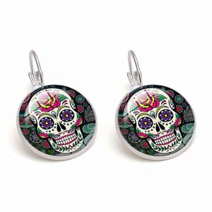 d98ae0f6a1cc 1pair fashion stud earrings ear studs stainless steel barbell pendientes  anti-allergic oil drip logo skull design jewelry