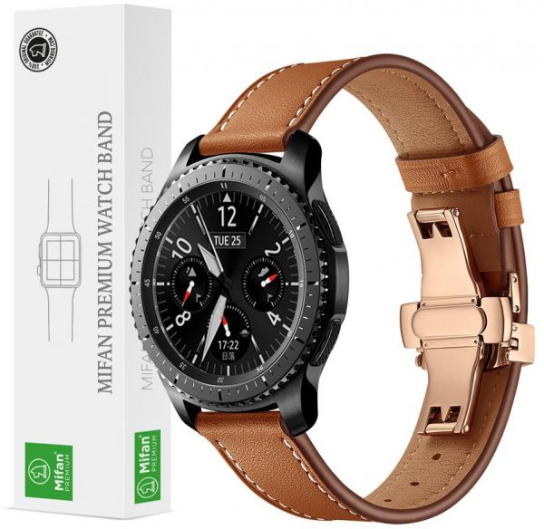 777604279ed Samsung Gear S3 2018 Galaxy Watch 46mm Band Replacement Mifan Premium Soft  Supreme Style Genuine Leather 22mm Width Strap with Rose Gold Click Folding  ...