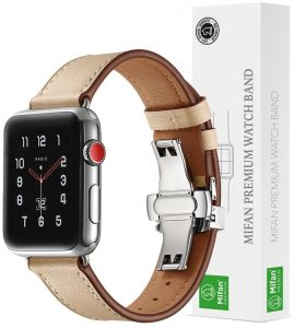 24a20cc93f4 Mifan Official Genuine Leather Band for Apple Watch 40mm 38mm Series  1 2 3 4 Strap Replacement Premium Soft Wristband Bracelet Cream Sand with  Silver Click ...
